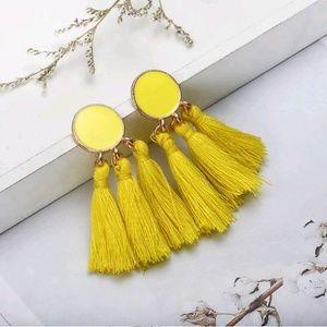 Jewelry - Bohemian Yellow Tassel Fringe Earrings